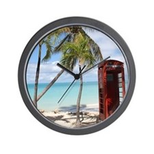 Red public Telephone Booth on Antigua Wall Clock