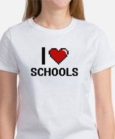 I Love Schools Digital Design T-Shirt