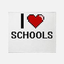 I Love Schools Digital Design Throw Blanket