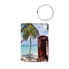 Red public Telephone Booth on Antig Keychains