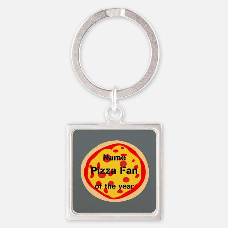Funny Pizza Fan Square Keychain