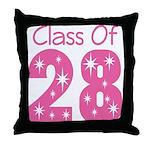 pink Class Of 2028 grad Throw Pillow