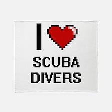I Love Scuba Divers Digital Design Throw Blanket