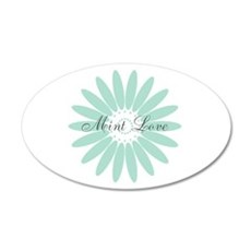 Personalized Mint Love Retro Floral Abstract Wall