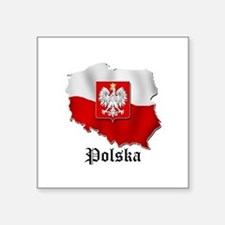 "Cute Polish flag Square Sticker 3"" x 3"""