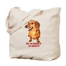 Looking at My Wiener Dachshund Tote Bag