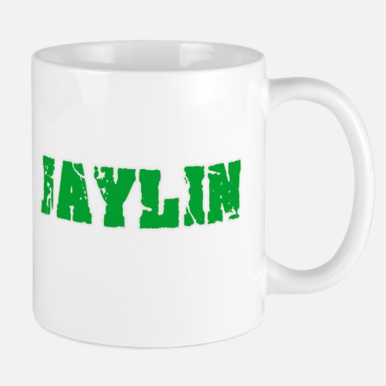 Jaylin Name Weathered Green Design Mugs