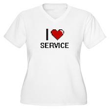 I Love Service Digital Design Plus Size T-Shirt