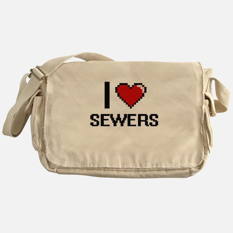 I Love Sewers Digital Design Messenger Bag