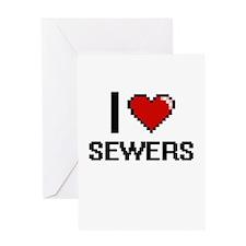 I Love Sewers Digital Design Greeting Cards