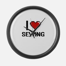 I Love Sewing Digital Design Large Wall Clock