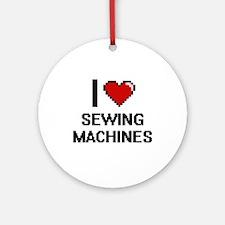 I Love Sewing Machines Digital Desi Round Ornament