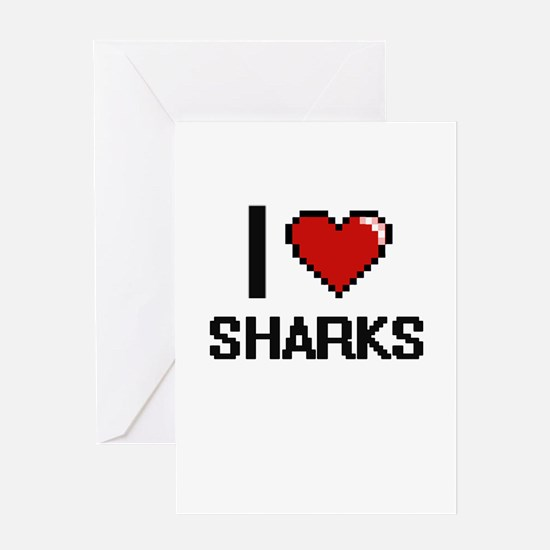 I Love Sharks Digital Design Greeting Cards