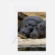 Hippo Love and Snuggles Greeting Cards