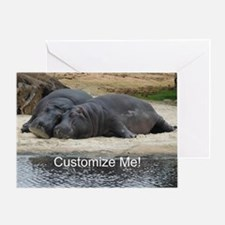 Hippo Love and Snuggles Customizable Greeting Card