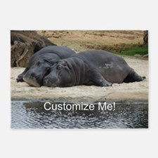 Hippo Love and Snuggles Customizabl 5'x7'Area Rug