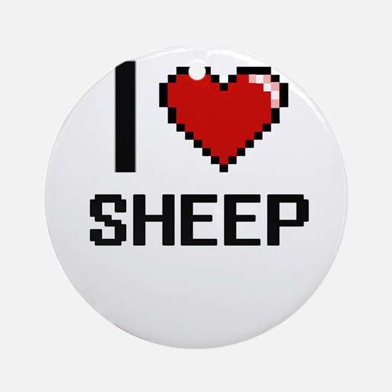 I Love Sheep Digital Design Round Ornament