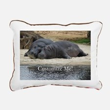 Hippo Love and Snuggles Rectangular Canvas Pillow