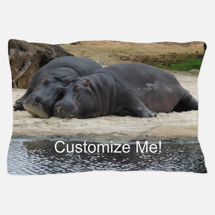 Hippo Love and Snuggles Customizable Pillow Case