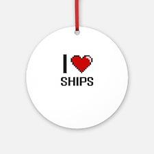 I Love Ships Digital Design Round Ornament