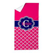 Pink Navy Quatrefoil Personalized Beach Towel