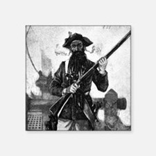 Blackbeard at attention with rifle Sticker