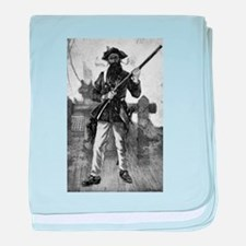 Blackbeard at attention with rifle baby blanket