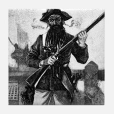 Blackbeard at attention with rifle Tile Coaster