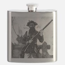Blackbeard at attention with rifle Flask