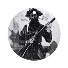 Blackbeard at attention with rifle Round Ornament