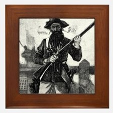 Blackbeard at attention with rifle Framed Tile
