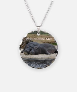Hippos in Love Personalized Necklace