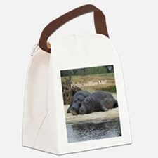 Hippos in Love Personalized Photo Canvas Lunch Bag