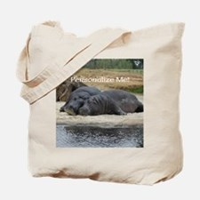 Hippos in Love Personalized Photo Tote Bag