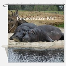 Hippos in Love Personalized Photo Shower Curtain