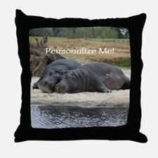 Hippos in Love Personalized Photo Throw Pillow