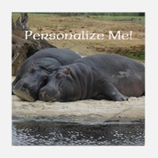 Hippos in Love Personalized Photo Tile Coaster