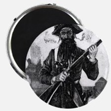 Blackbeard at attention with rifle Magnets