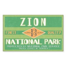 Zion National Park (Retro) Rectangle Decal