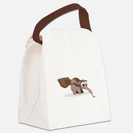 Anteater Cartoon Canvas Lunch Bag