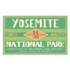 Yosemite National Park (Retro) Sticker (Rectangula