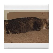 manx sleeping Tile Coaster