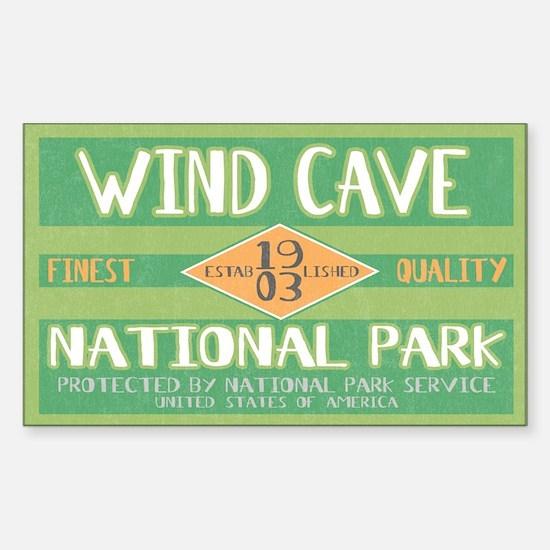 Wind Cave National Park (Retro) Sticker (Rectangul