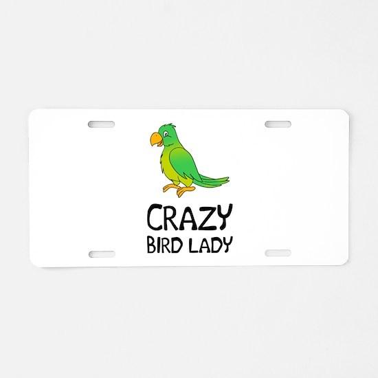 Crazy Bird Lady Aluminum License Plate