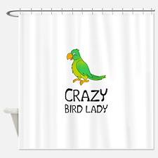 Crazy Bird Lady Shower Curtain