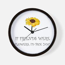 Pick Friends Flowers Wall Clock