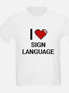 I Love Sign Language Digital Design T-Shirt