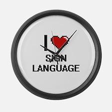 I Love Sign Language Digital Desi Large Wall Clock