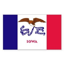 Iowa State Flag Rectangle Stickers