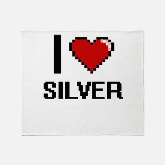 I Love Silver Digital Design Throw Blanket